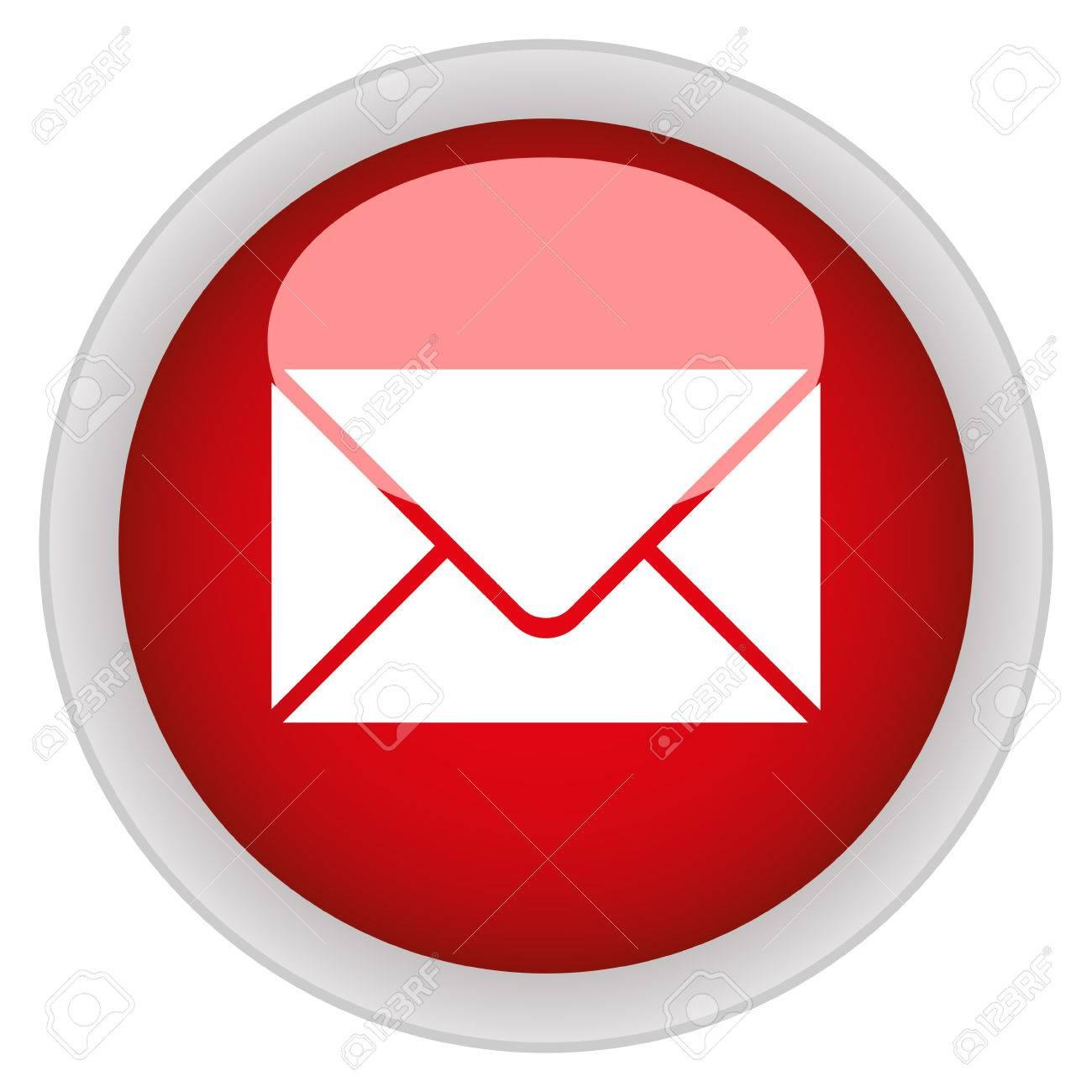 Email Icono De Botón Redondo De Color Rojo Brillante Ilustraciones ...
