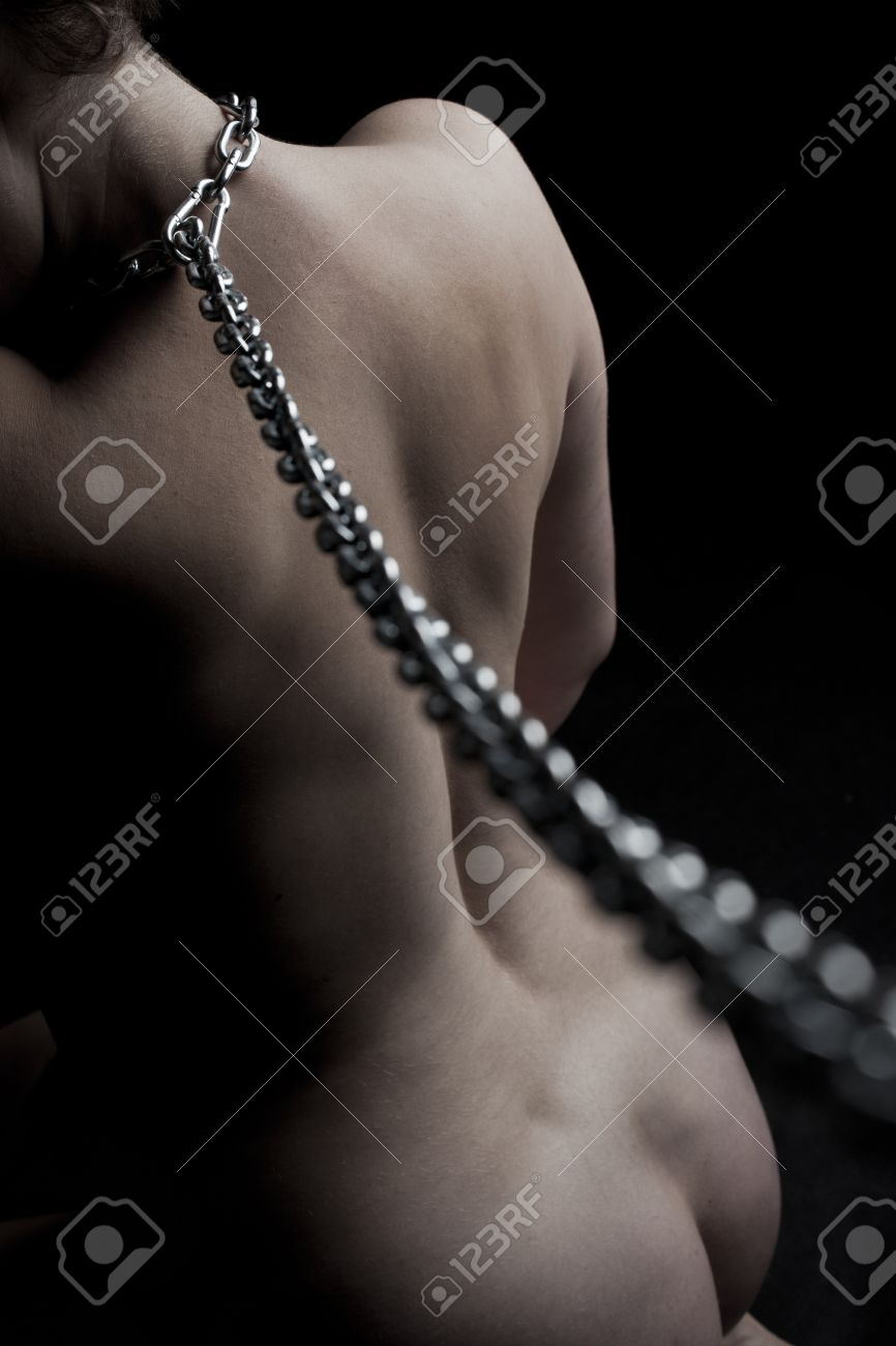 Stock Photo Submissive Chained Woman Silver Chain Over Her Neck Bondage Act Concept On Black Background