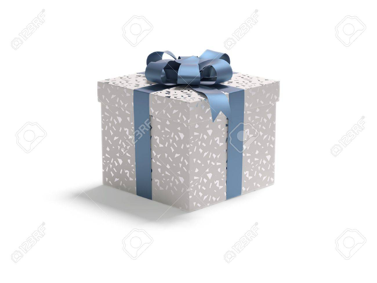 A red white box with spangle tied with a blue satin ribbon bow. A gift for Christmas, Birthday, Wedding, or Valentine's day. Stock Photo - 8678796