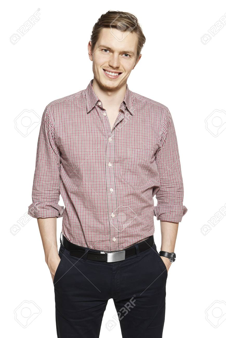 Studio shot of young man against a white background. Stock Photo - 16880481