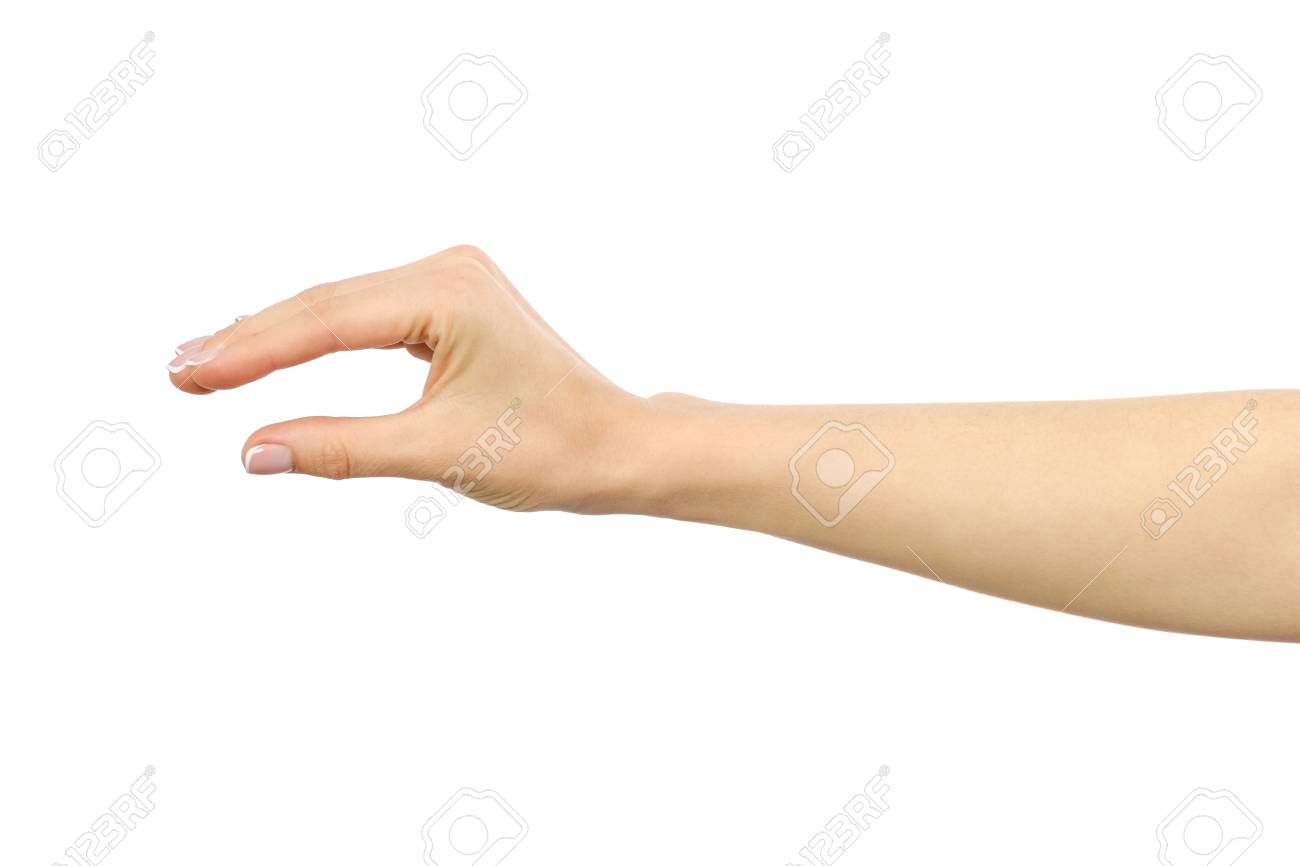 woman s hand grabbing or measuring something isolated on white stock
