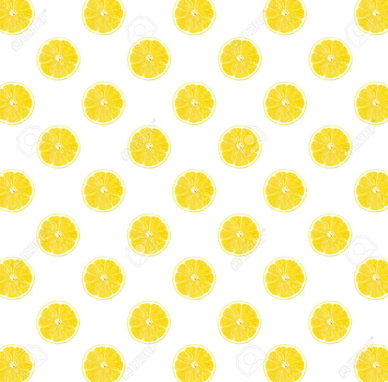 Fresh Yellow Lemon Photographic Pattern Lemon Wallpaper Isolated