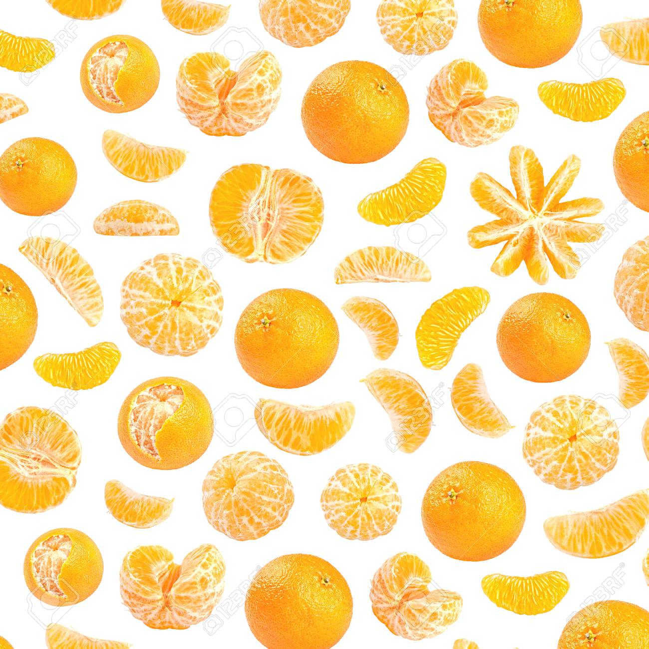 Fresh orange mandarin photographic pattern. Mandarin wallpaper. Isolated on white background Stock Photo -