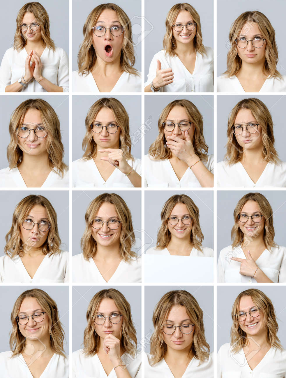 Collage of beautiful woman with different facial expressions and gestures isolated on gray background. Set of multiple images - 134116756