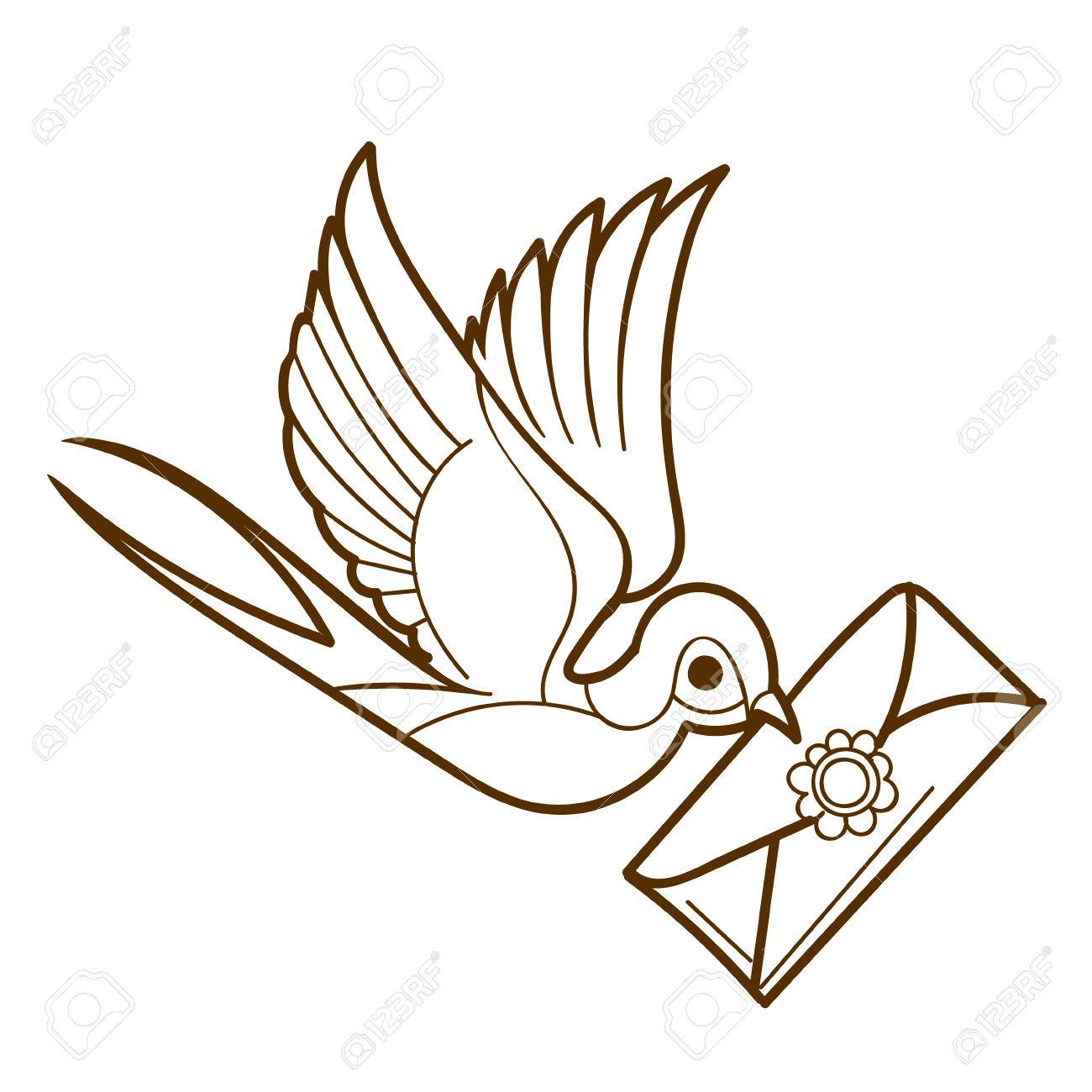 swallow with a letter sketch tattoo on a white background outline drawing stock vector jpg 1300x1300