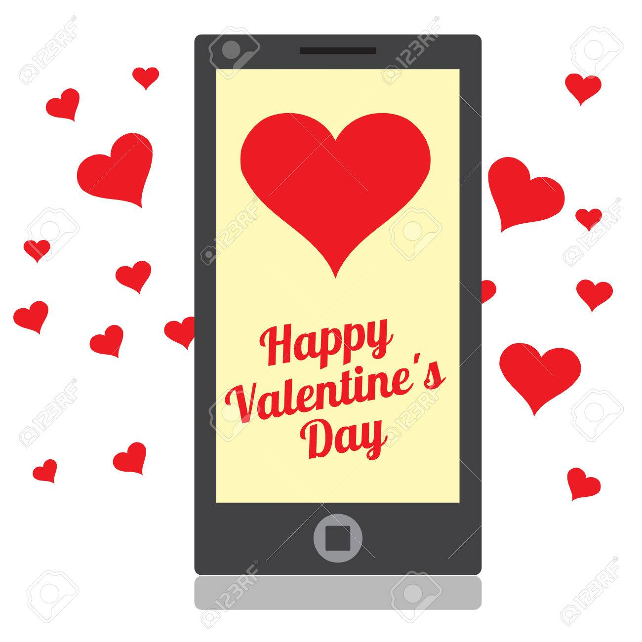 Drawing a mobile device with hearts and greetings for valentines drawing a mobile device with hearts and greetings for valentines day stock vector 53184750 m4hsunfo