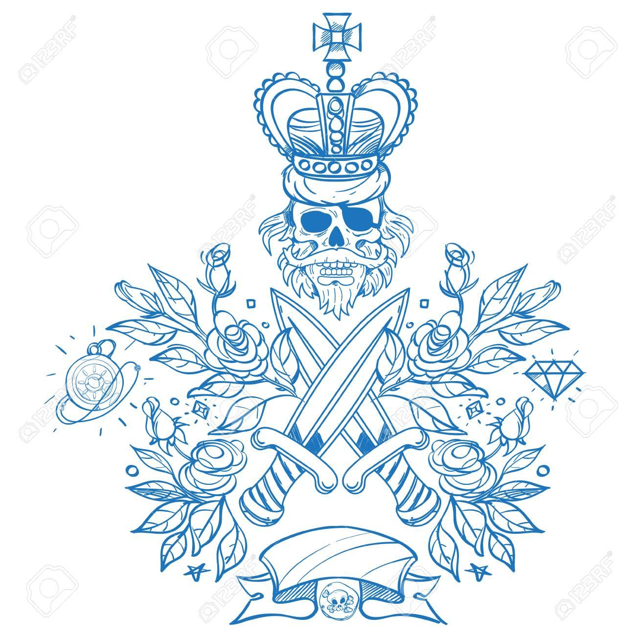 Bosquejo De Tatuaje Con Un Cráneo Dagas Y Rosas Esquema De Ilustración Para Colorear Con El Jolly Roger Dibujo De Un Pirata Y Flores Para El Diseño