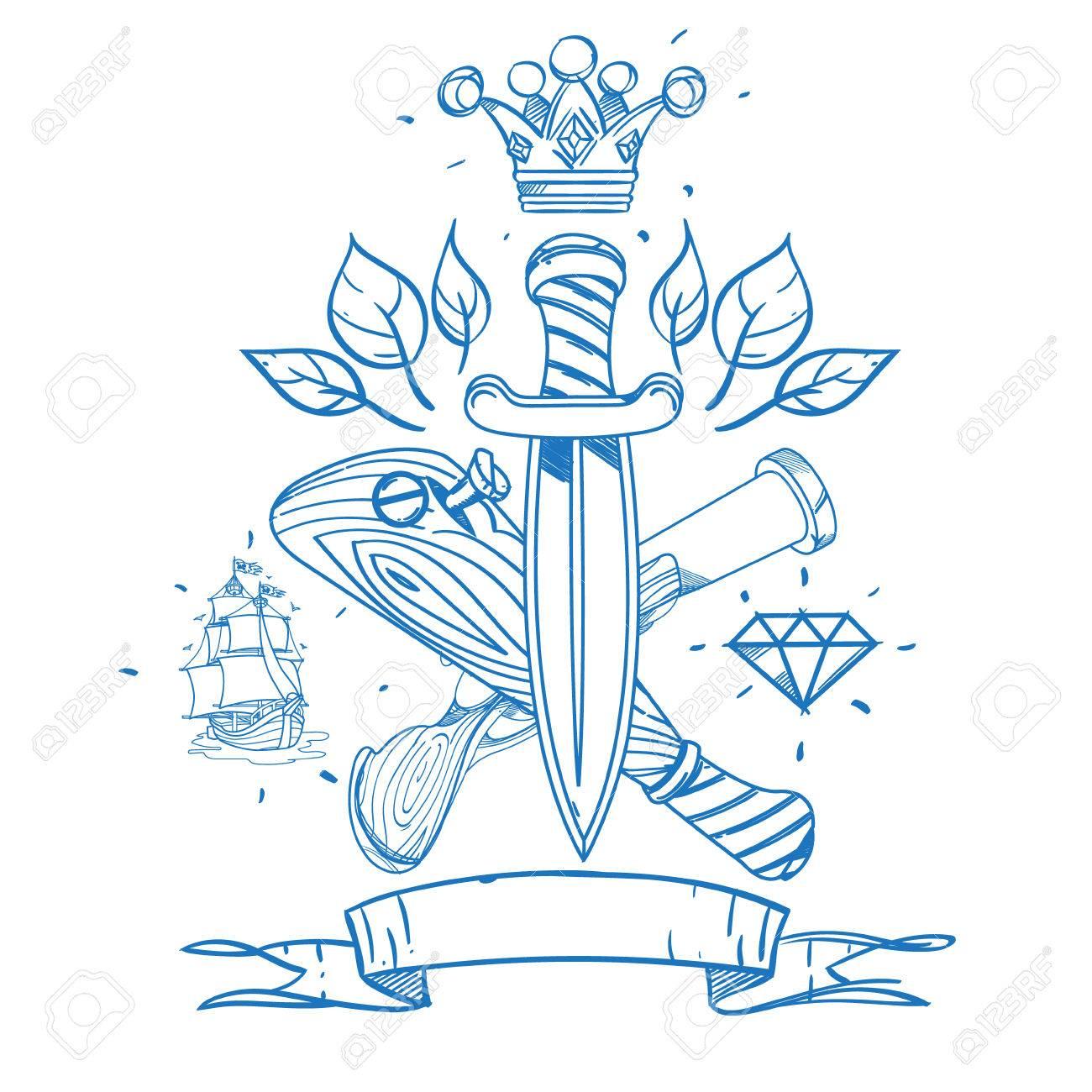 Bosquejo De Tatuaje Con Dagas, Una Corona Y Un Bate De Béisbol ...