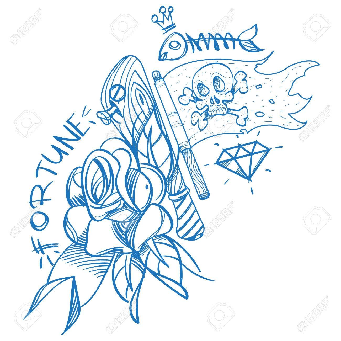 Boceto Del Tatuaje Con Una Daga Y Rosas Ilustración Del Esquema Para Colorear Con El Jolly Roger Dibujo De Un Pirata Y Flores Para Camisetas De