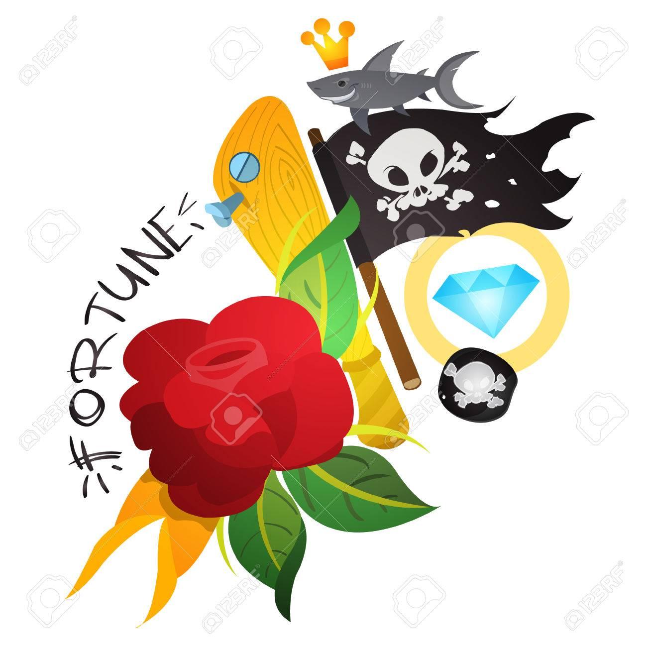 Boceto Del Tatuaje Con Una Daga Y Rosas. Ilustración Para Colorear ...