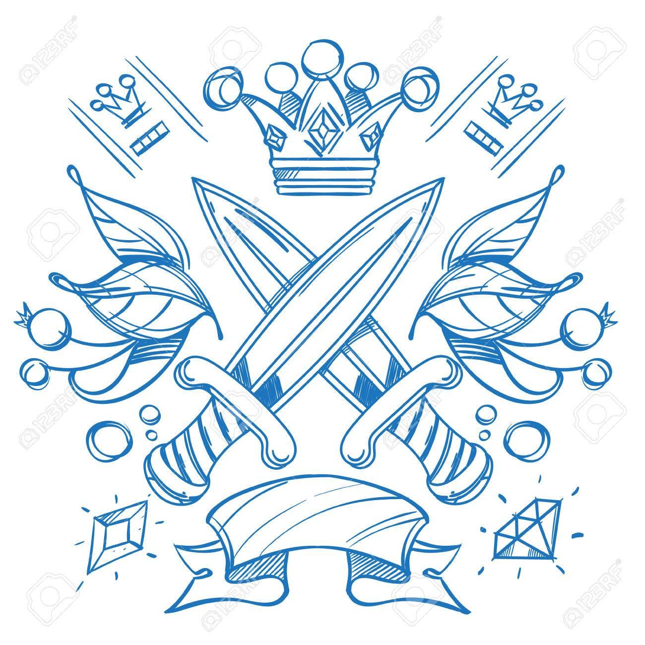 Boceto De Tatuaje Con Coronas Y Corona Ilustración De Esquema Para