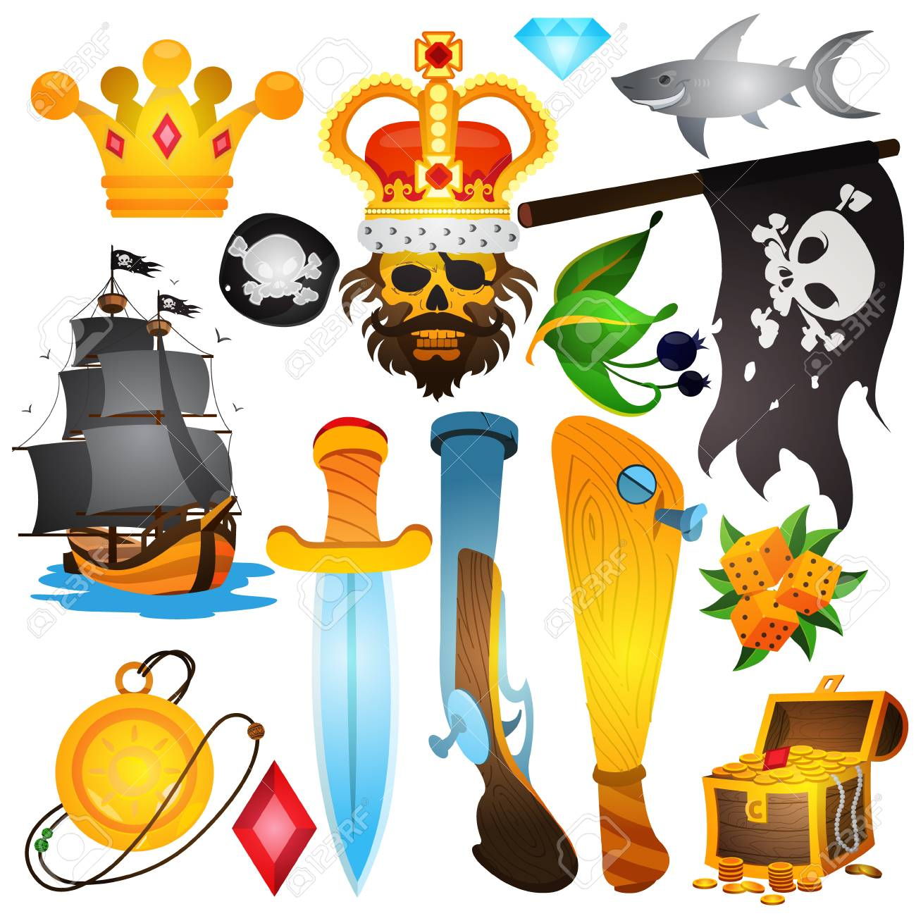 イラスト海賊属性を設定します中世の海賊の様々 なアイテムテーマの