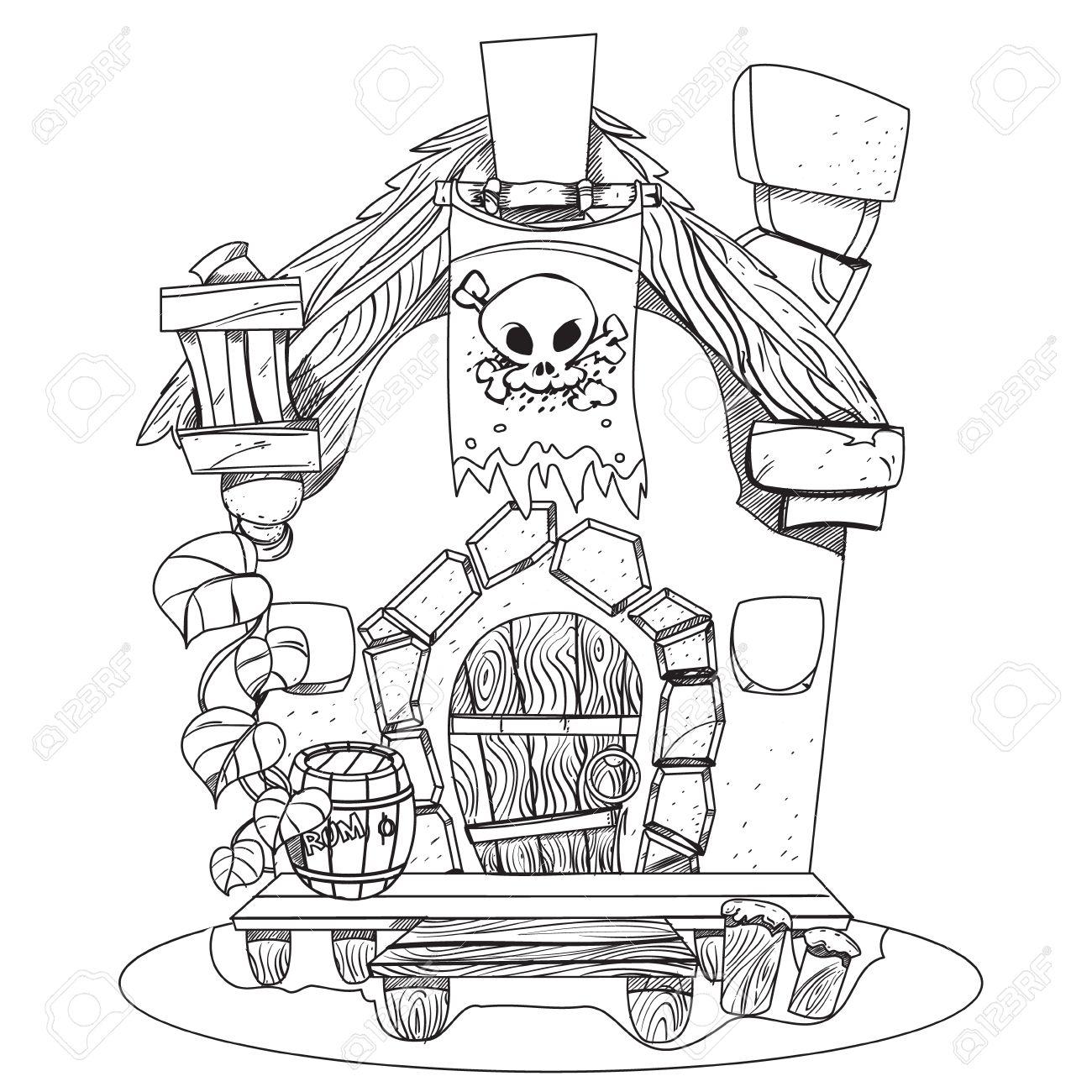 Cabaña De Brujas. Ilustración De La Historieta De Una Bruja Casa ...
