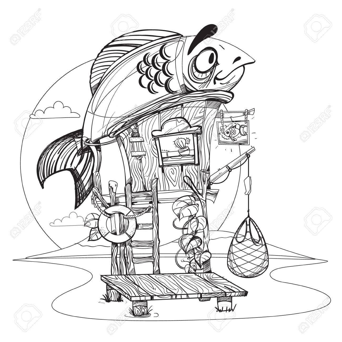 Pescador Casa Ilustración De Dibujos Animados De Una Cabaña De Madera Sobre Pilotes Cerca Del Río Dibujo Para El Juego De Las Aplicaciones Móviles
