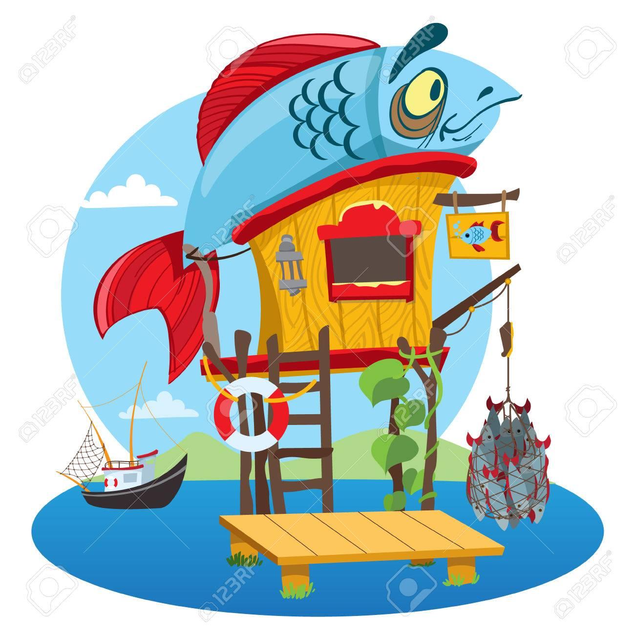house fisherman cartoon illustration of a wooden hut on stiltshouse fisherman cartoon illustration of a wooden hut on stilts near the river drawing