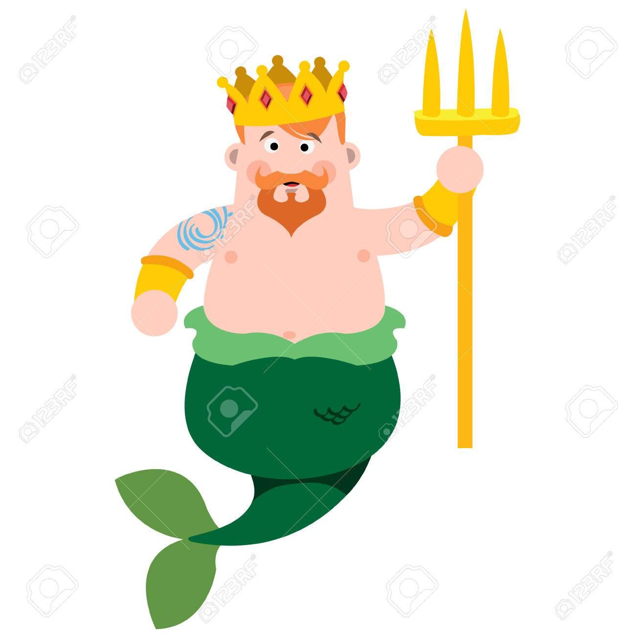 Vettoriale Nettuno Il Personaggio Dei Cartoni Animati è Il Re Del