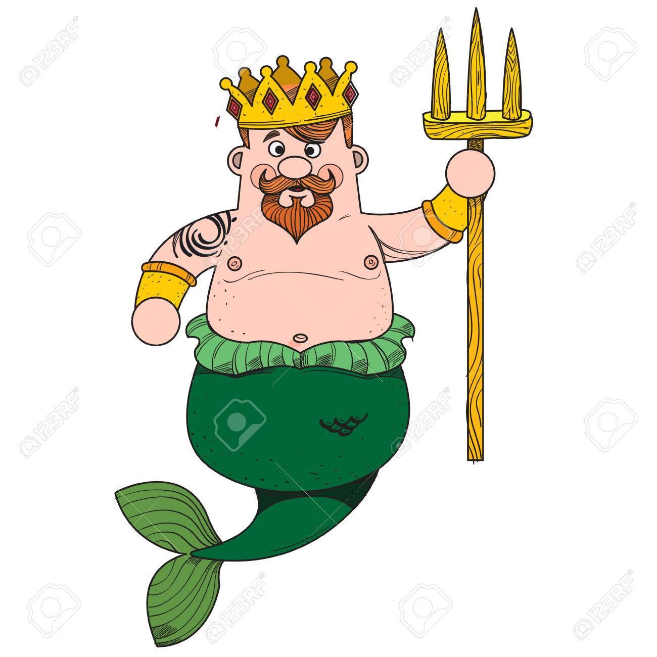 Vettoriale Nettuno Il Personaggio Dei Cartoni Animati è Re Del