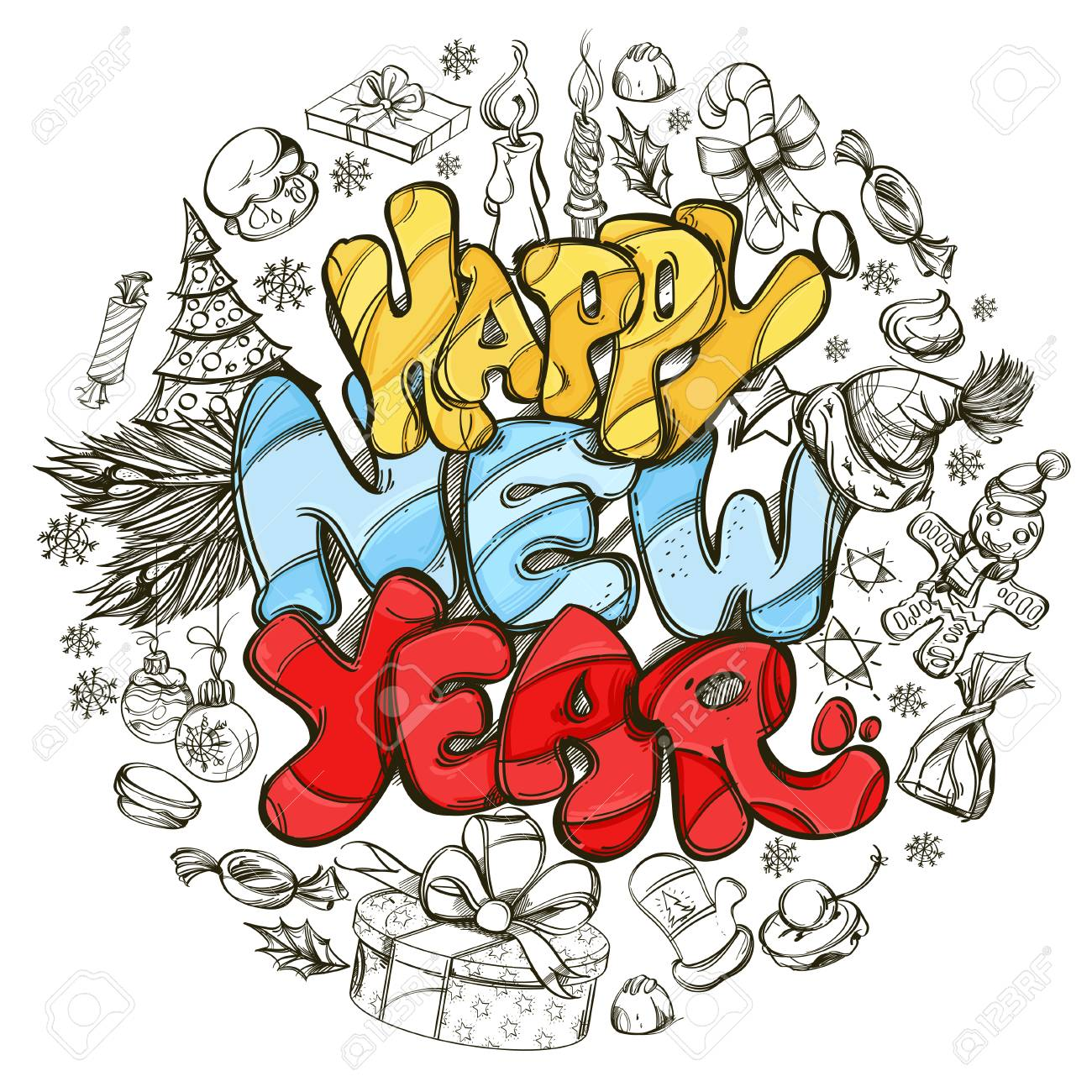 Happy New Year Hand Drawn Outline Illustration With Text And