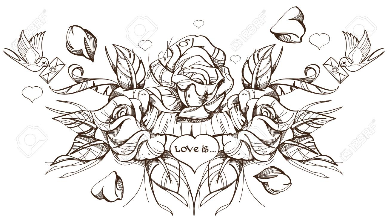 Three Roses Sketch Tattoo Stock Photo Picture And Royalty Free