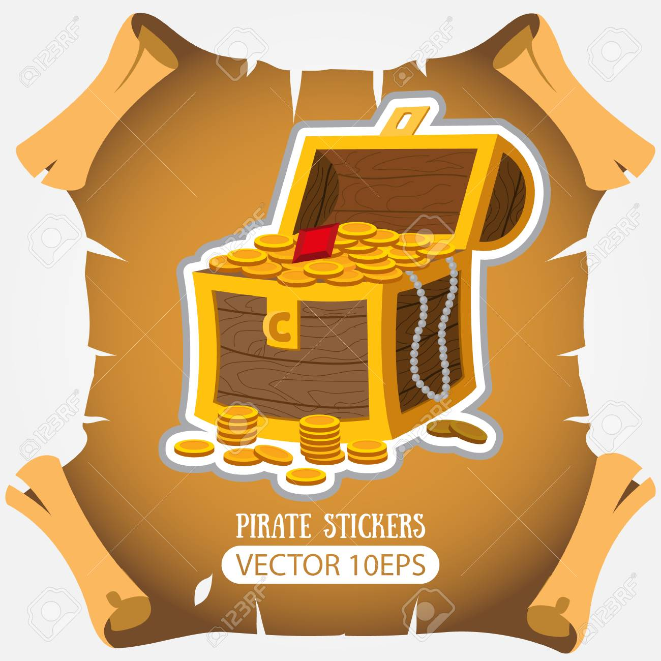 Treasure chest vector stickers on the pirate theme stock vector 110620916
