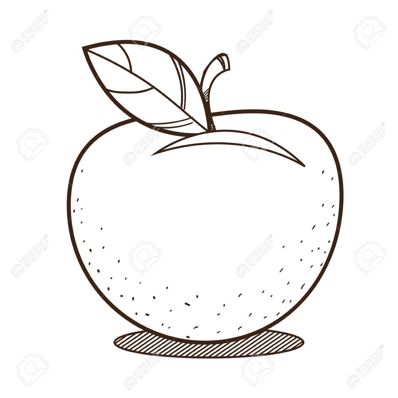 Apple Outline Drawing For Coloring Fruit Logo Royalty Free Cliparts Vectors And Stock Illustration Image 122695657