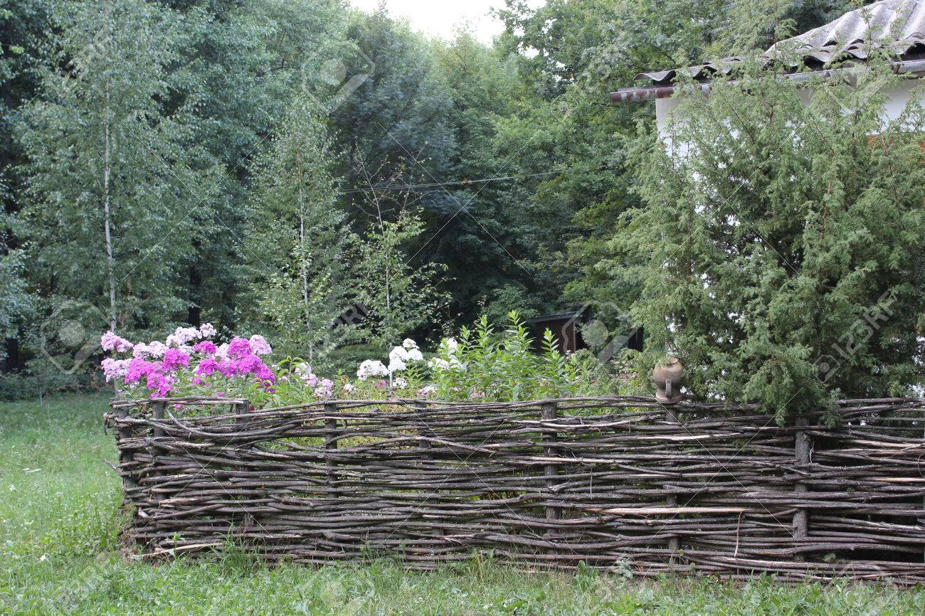 Fence Of Wicker Branches And Flowers Ukraine Stock Photo Picture