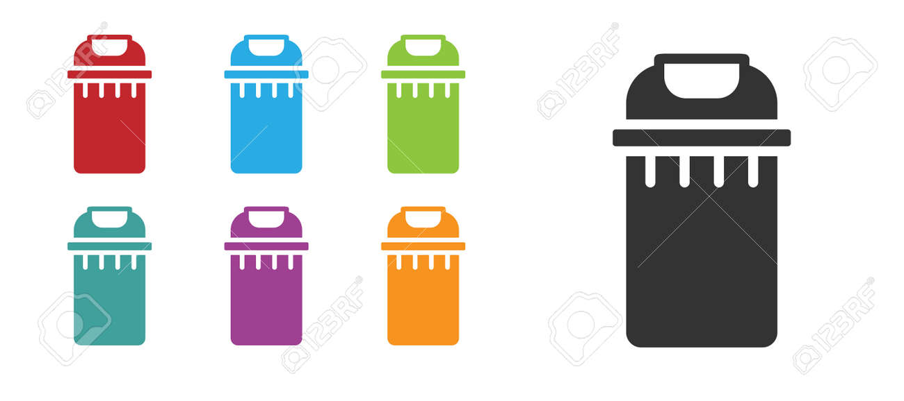 Black Trash can icon isolated on white background. Garbage bin sign. Recycle basket icon. Office trash icon. Set icons colorful. Vector - 157260369