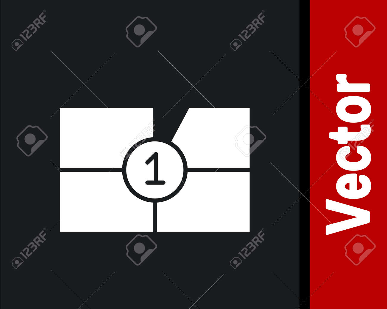 White Old film movie countdown frame icon isolated on black background. Vintage retro cinema timer count. Vector Illustration - 161411717