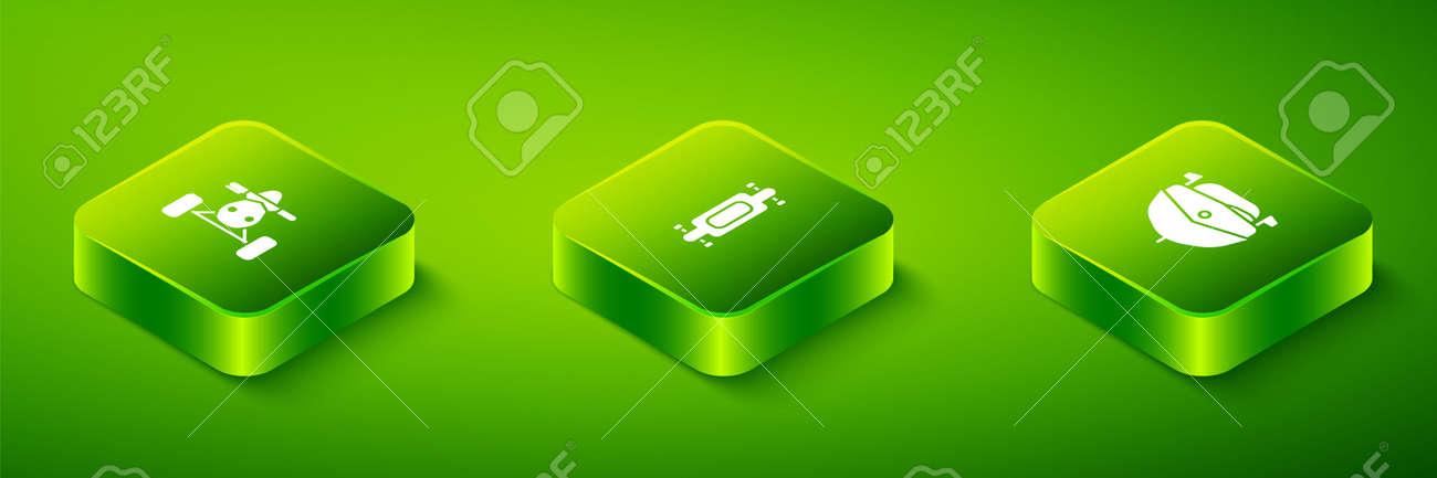 Set Isometric Longboard or skateboard, Speedboat and ATV motorcycle icon. Vector - 165569467