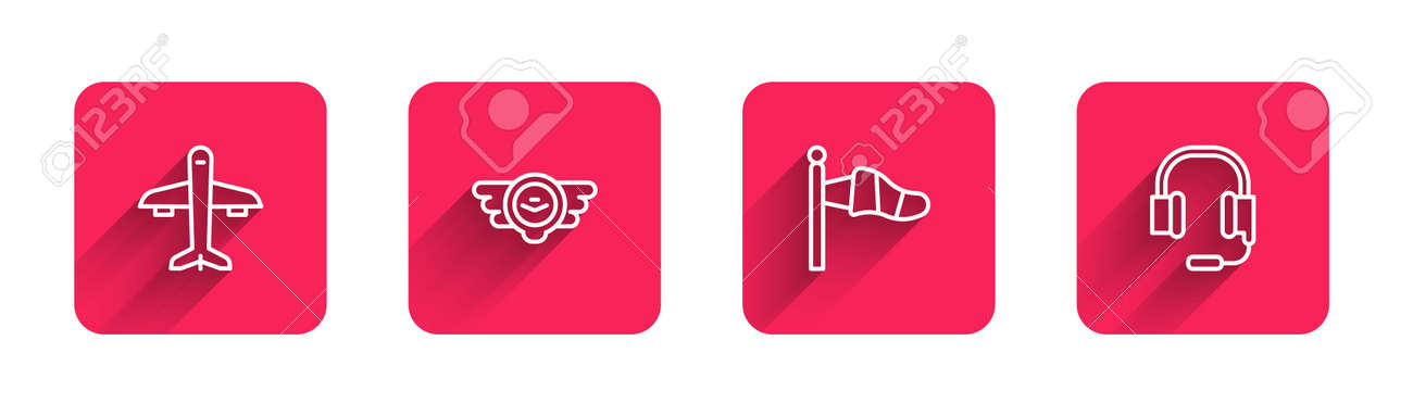 Set line Plane, Aviation emblem, Cone meteorology windsock and Headphones with microphone with long shadow. Red square button. Vector - 171596252