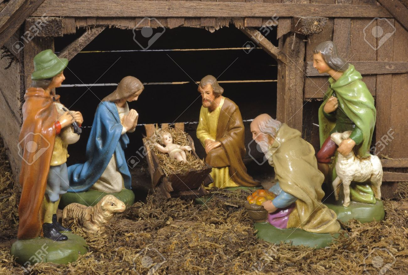 Christmas Nativity Scene At Jesus Birth With Mary And Joseph Stock ...