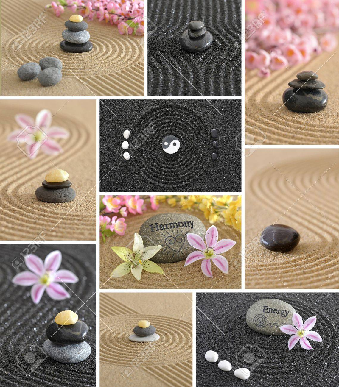 wellness zen garden collage with stone and sand Stock Photo - 8660226