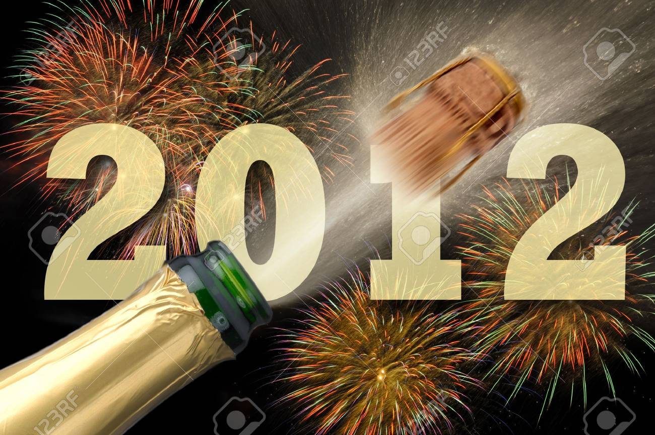 champagne and fireworks at new year 2012 Stock Photo - 8660219