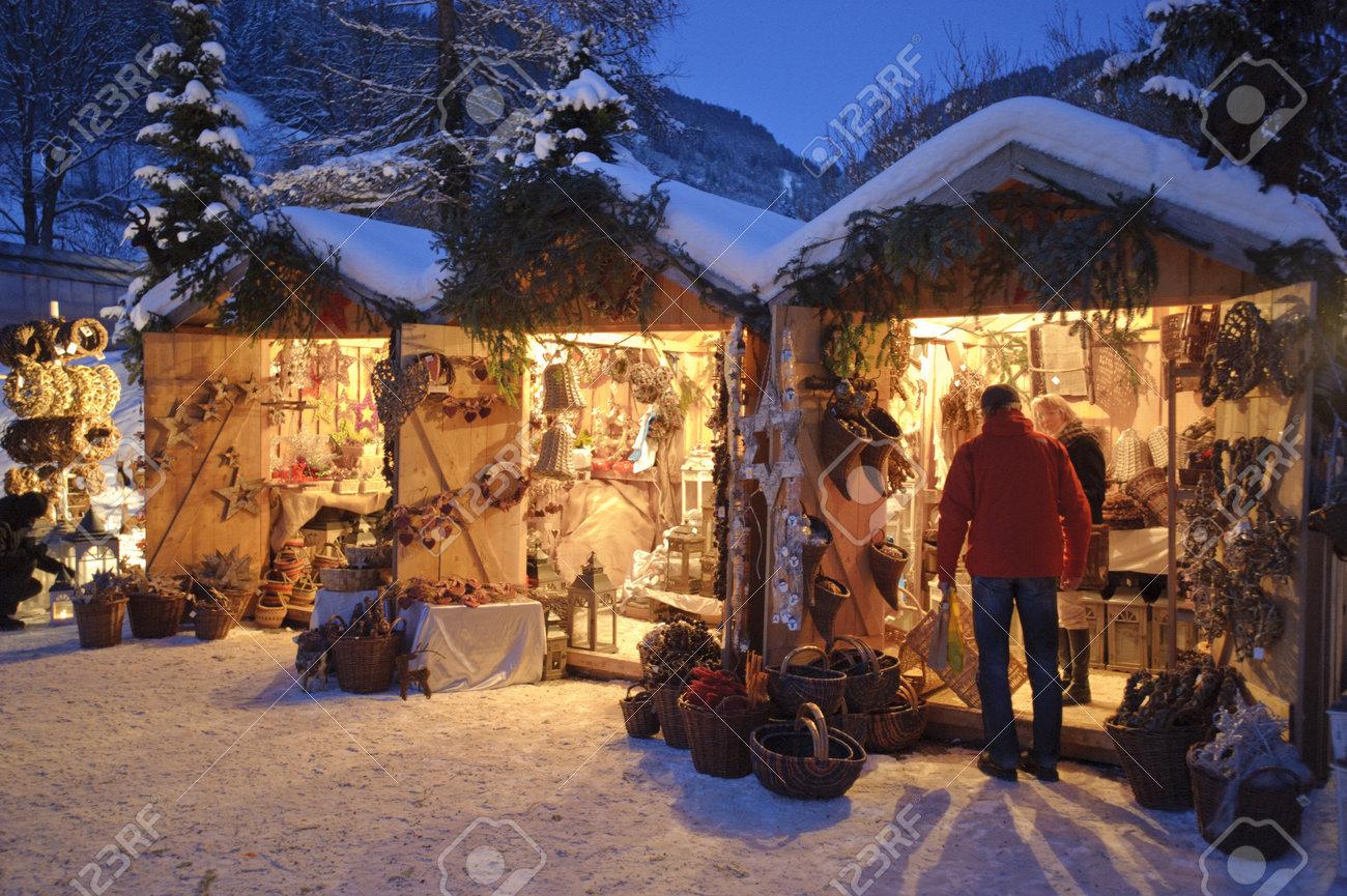 Weihnachtsmarkt Oberammergau.Stock Photo