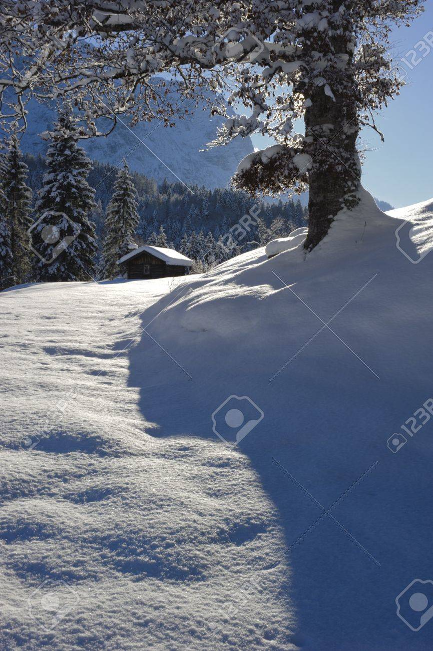 winter landscape at alp mountains in bavaria, germany Stock Photo - 12674661