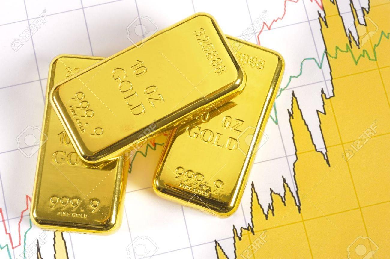 three gold bars on chart Stock Photo - 12674629
