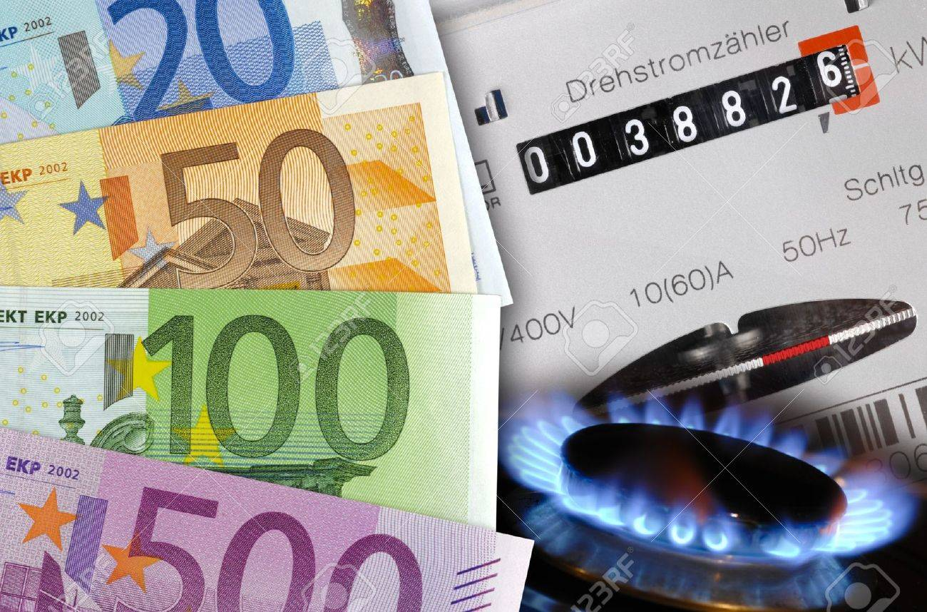 euros de coûts compteur électrique, de gaz et de l'énergie Banque d'images - 12674662