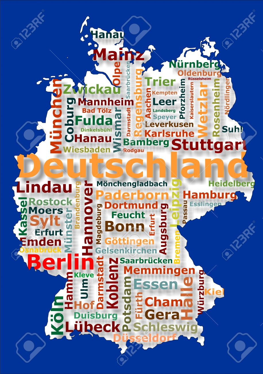 Map Of Germany With Cities.Map Of Germany And Big German Cities Stock Photo Picture And