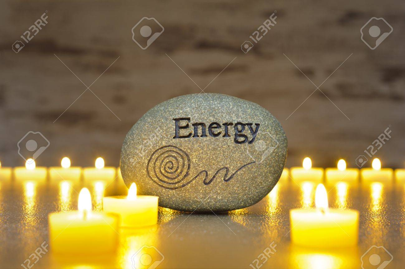 Japan zen garden with stone of energy and candle lights Stock Photo - 18965399