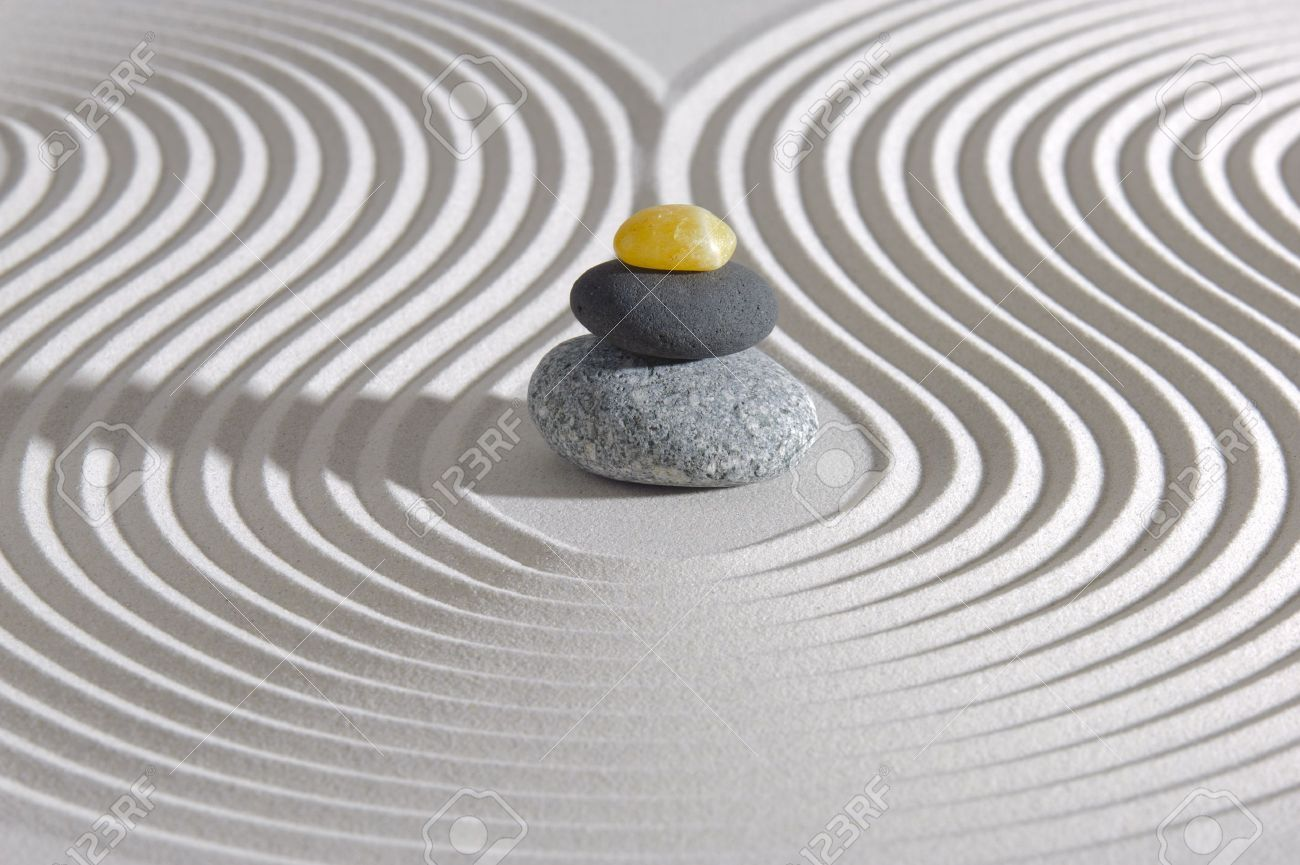 Japanese ZEN Garden With Stacked Stones In Sand Stock Photo   19393021