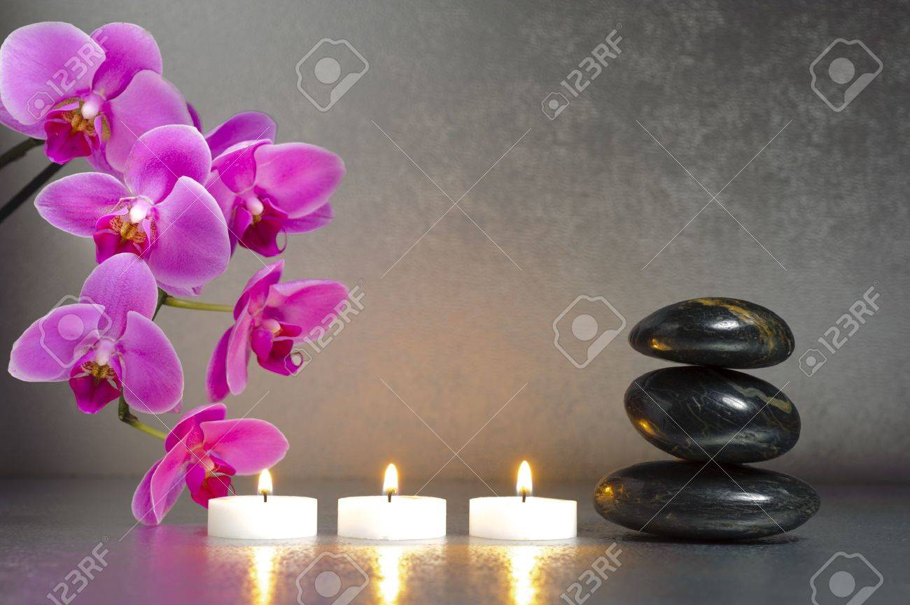 Japanese zen garden with candle lights and stones Stock Photo - 19666950