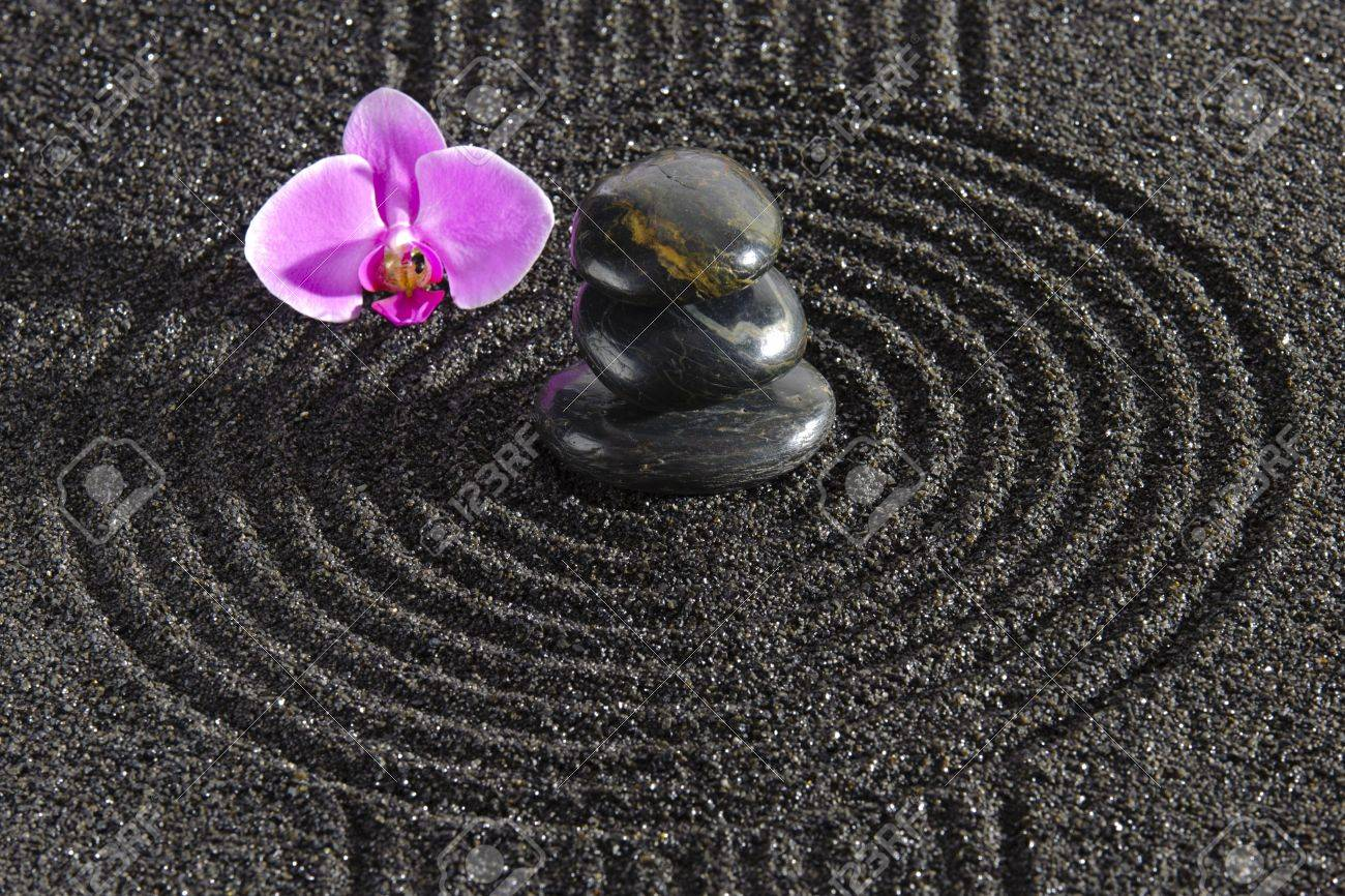 Japanese zen garden with sand and stones Stock Photo - 19667116