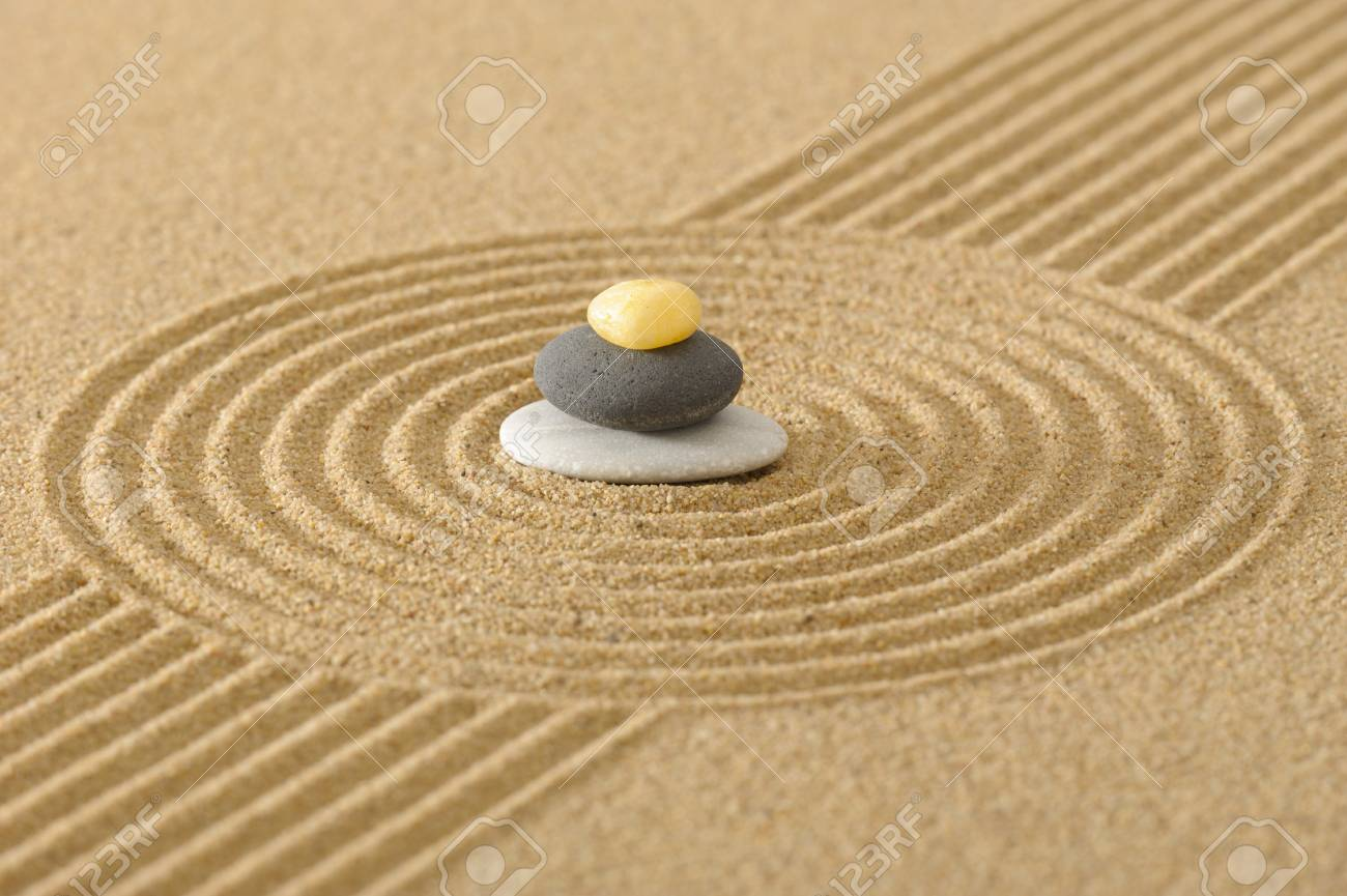 ZEN Garden In Sand With Stacked Stones Stock Photo, Picture And ...