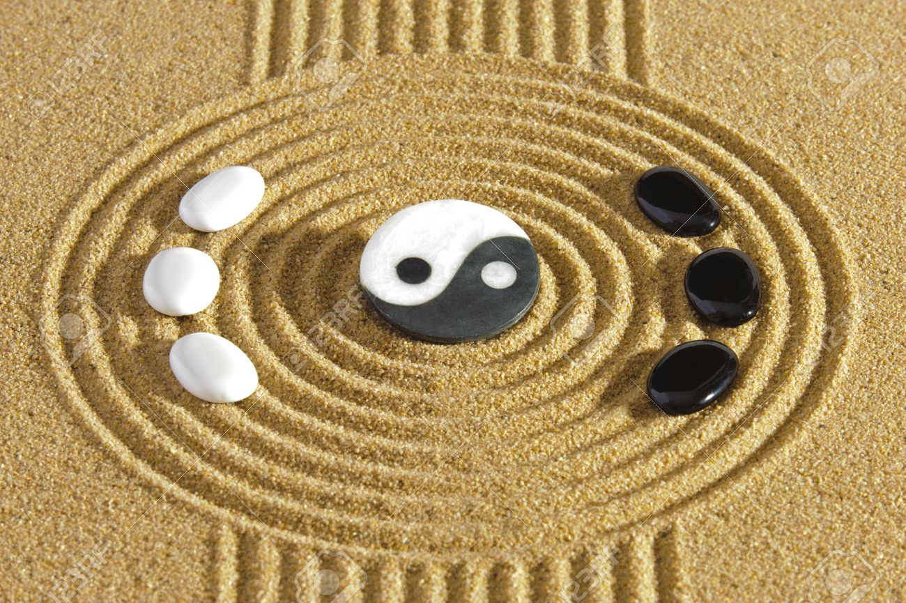 japanese zen garden with yin and yang stones - 23333495