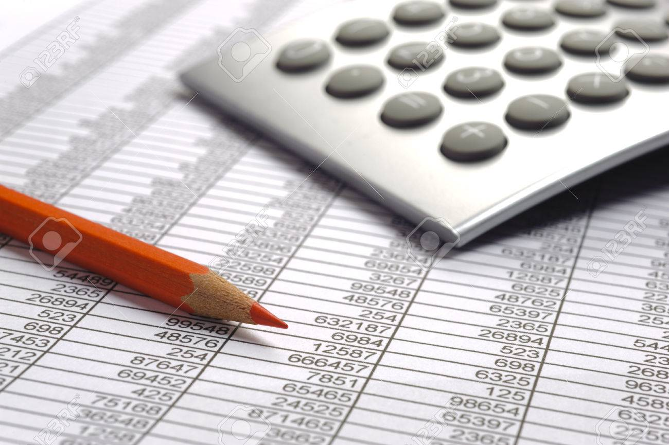 financial calculation with table chart and red pencil - 29370528