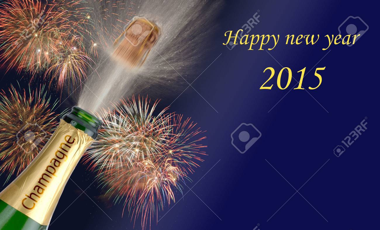 new year 2015 with popping champagne and firework - 32640492