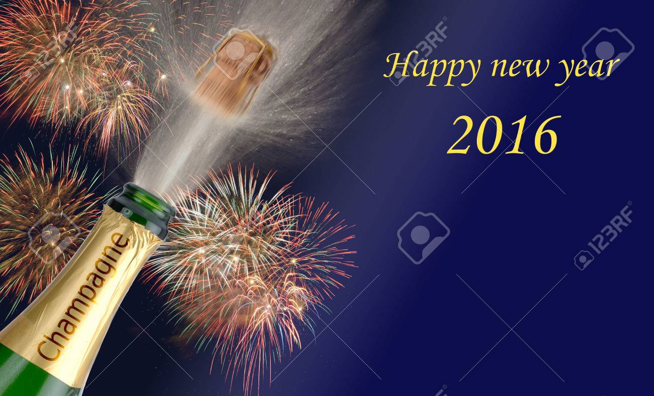 Happy new year 2016 with popping champagne and firework - 38027381