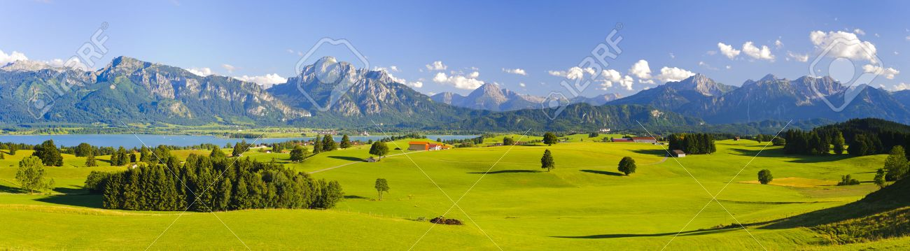 wide panorama landscape in Bavaria, Germany, with alps mountains - 42045677