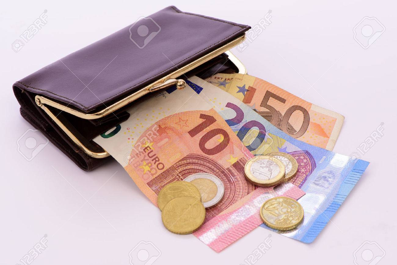 Euro cash currency in purse - 73543549