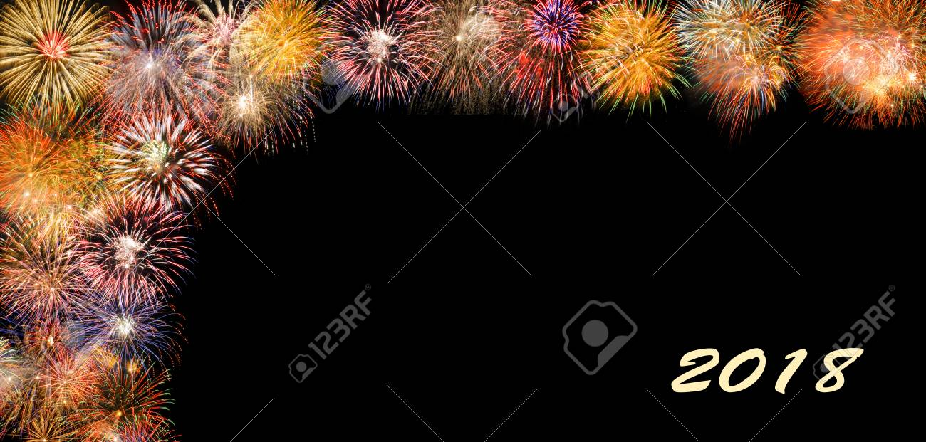 fireworks at silvester and new years eve 2018 with border and copy space stock photo